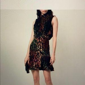 SALONI sleeveless devoré leopard dress